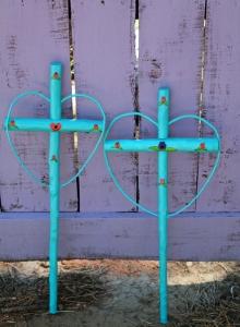 blue flower crosses