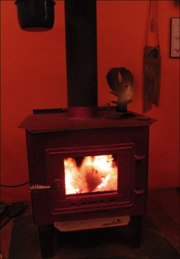 little woodstove-night