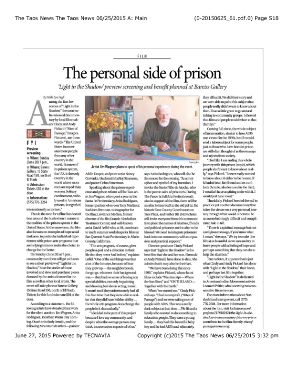 Taos News Article Prison Documentary_June 25 2015