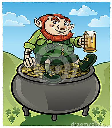 irish-leprechaun-sitting-pot-gold-drinking-beer-29926677