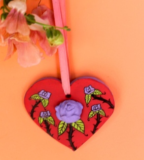 red heart:purple rose hanging